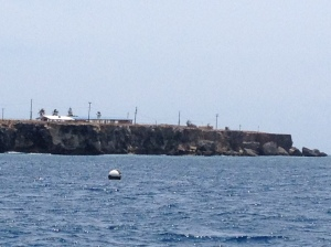 A picture from Guantanamo Bay. We tied up to that buoy in the water and went snorkeling.