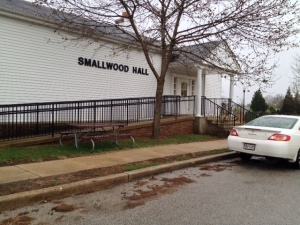 Entrance to Smallwood Hall where we view the proceedings via video link.
