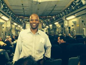 Professor George Edwards on a US Military C-17 flight from Andrews Air Force Base to Guantanamo Bay, Cuba (June 2014)