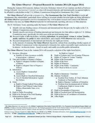 Guantanamo Bay -- Indiana McKinney Law School - The Gitmo Observer - Proposed Rights Project - Autumn 2014 - George Edwards (1)