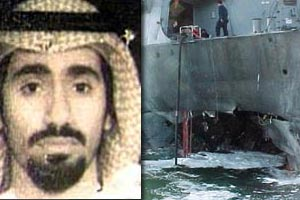 On the right, the hole in the side of the U.S.S. Cole that al Nashiri (left) is accused to have planned the bombing of. The U.S. ship was docked in a port in Yemen during the October 2000 attack that killed 17 U.S. sailors and wounded over 30.