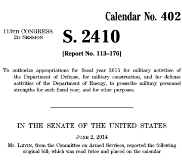 Senate Bill 2410 - Carl Levein - To Authorize Military Activities for 2015