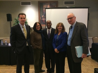 From left Dean and former U.S. Ambassador to Poland Lee Feinstein, Miami Herald Senior Correspondent Carol Rosenberg, Professor Edwards of The Gitmo Observer, Special Assistant to the International Criminal Court Prosecutor Professor Leila Sadat, and former Congressman Lee Hamilton who was Vice Chair of the 9-11 Commission.