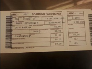 Boarding Pass - Andrews to GTMO - Catherine Lemmer - 12 December 2014