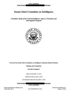 Front Cover - CIA Detention & Interrogation - Senate Select Committee on Intelligence - Executive Summary - Released 9 December 2014 - Redacted