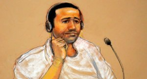 Courtroom sketch of al Nashiri by artist Janet Hamlin. Today in court he was wearing a similar casual white short sleeve shirt. His hair appeared to be a little longer than in this sketch, but it appeared equally as kempt.