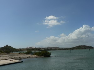 From the ferry crossing Guantanamo Bay, the GTMO airport where we arrived in the background.