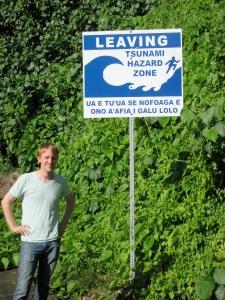 Luke near a Tsunami Hazard Site in American Samoa, while on a 2014 summer human rights internship