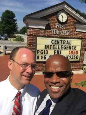 """Outside the Post Theater, where """"Central Intelligence"""" was being screened -- $6.00 for adults, and $3.50 for children."""