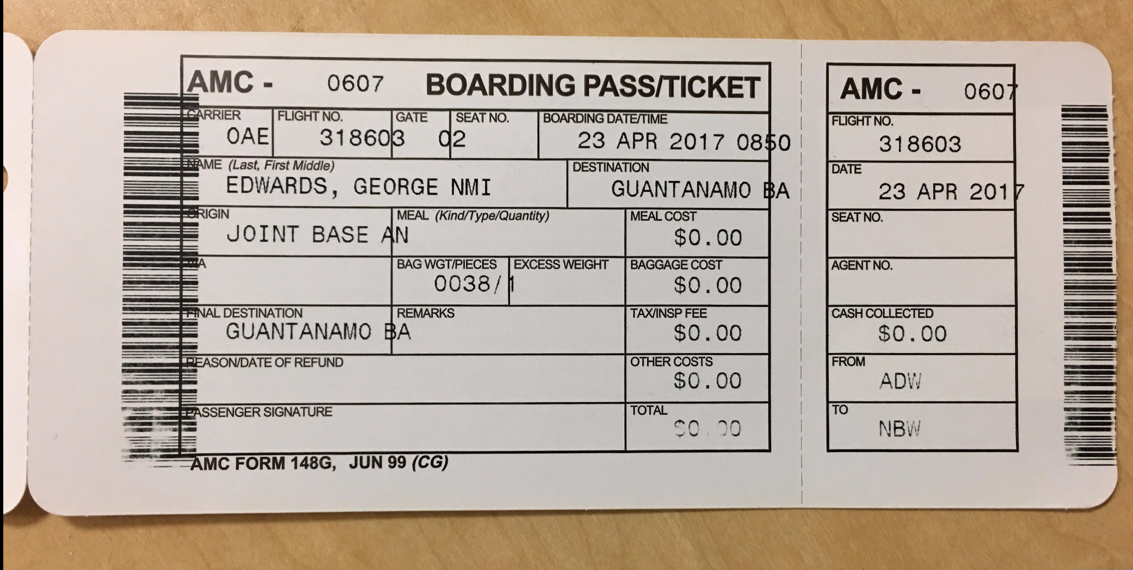 Boarding Pass -- alone - Andrews -- April 2017